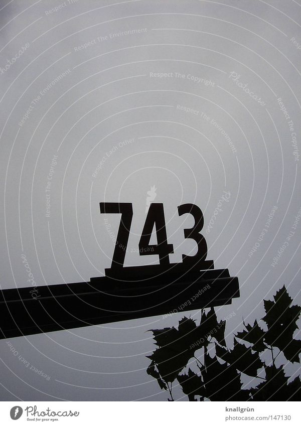743 Digits and numbers Metal Black Blue Slate blue Sky Leaf Signs and labeling Detail Obscure