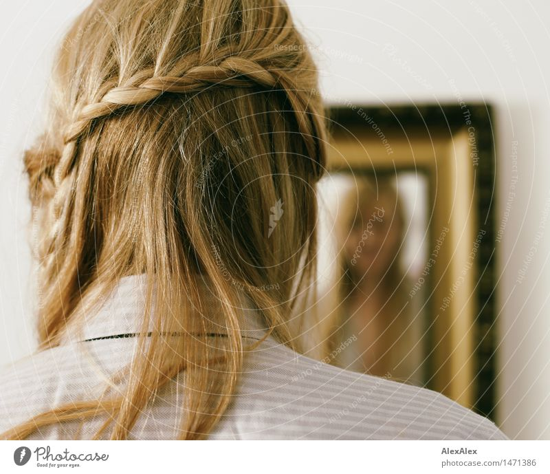 plait Personal hygiene Hair and hairstyles Flat (apartment) Young woman Youth (Young adults) 18 - 30 years Adults Mirror Mirror image Shirt Blonde Long-haired