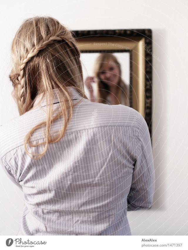 mirror mirror on the wall Hair and hairstyles Flat (apartment) Mirror Mirror image Young woman Youth (Young adults) 18 - 30 years Adults Shirt Blonde