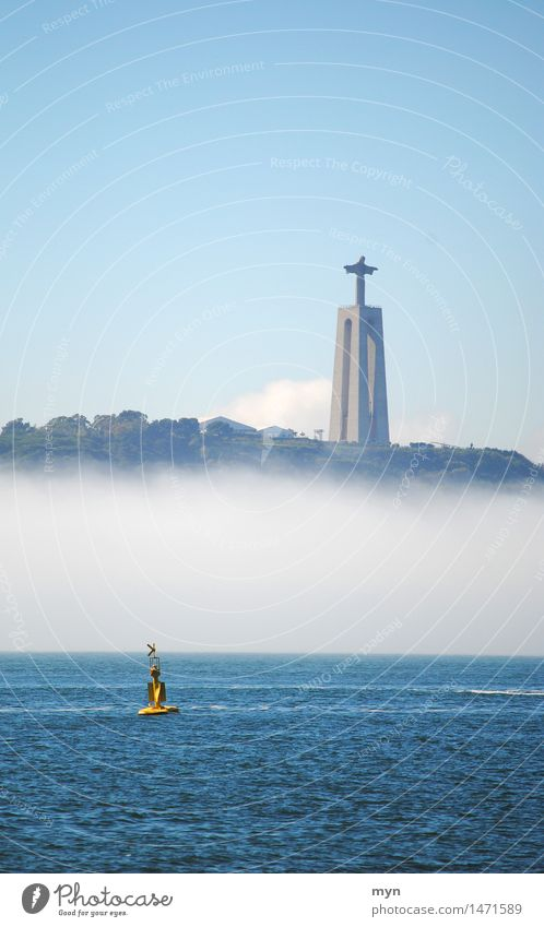 cristo rei Vacation & Travel Tourism Adventure Far-off places Sightseeing City trip Summer Sky Cloudless sky Fog Coast River bank Ocean Tejo Lisbon Portugal