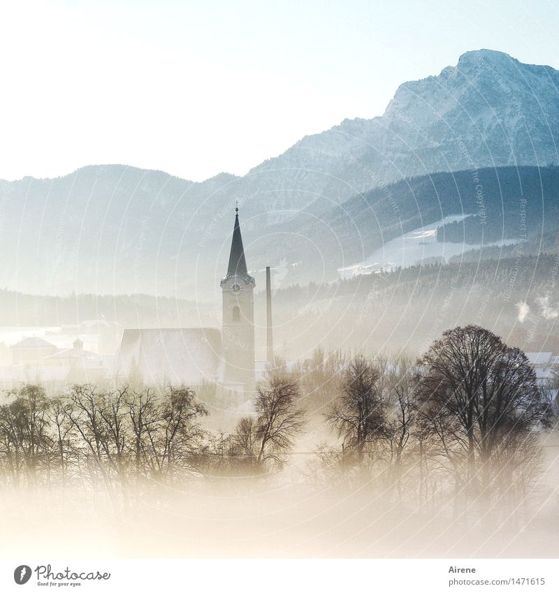 once upon a time there was IV Winter vacation Mountain Landscape Beautiful weather Fog Snow Tree Alps Allgäu Alps Snowcapped peak Village Deserted Church