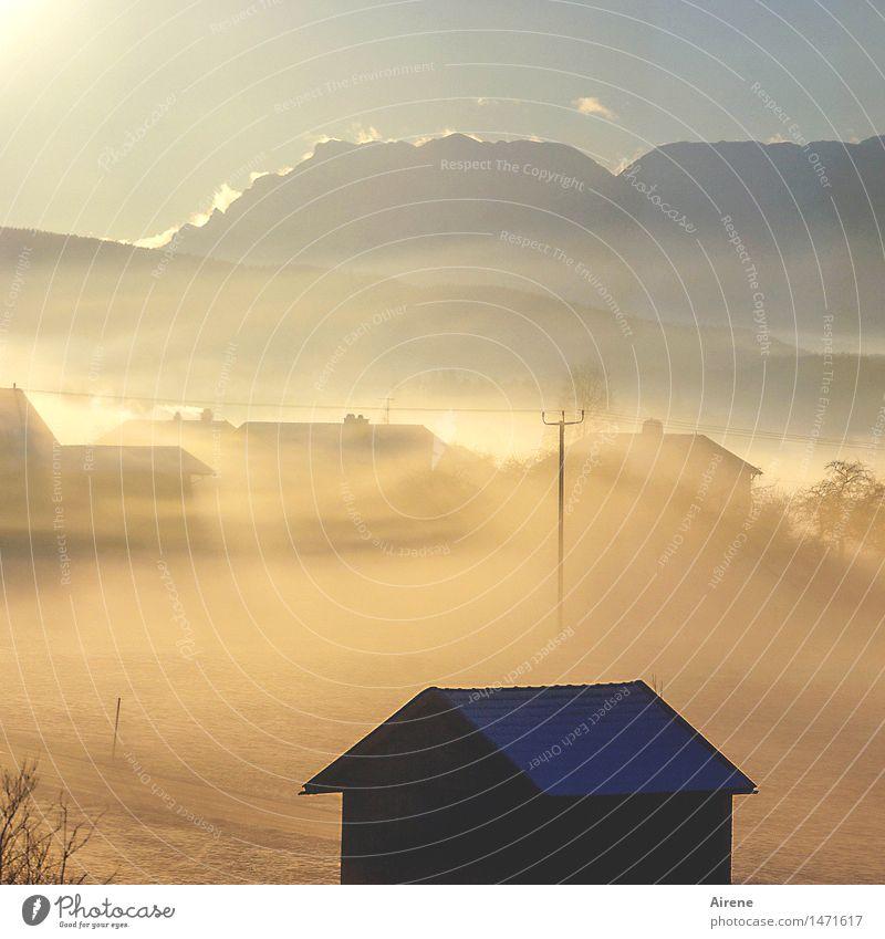 Sky Blue Sun Winter Mountain Snow Happy Time Moody Bright Glittering Dream Fog Gold Fantastic Uniqueness