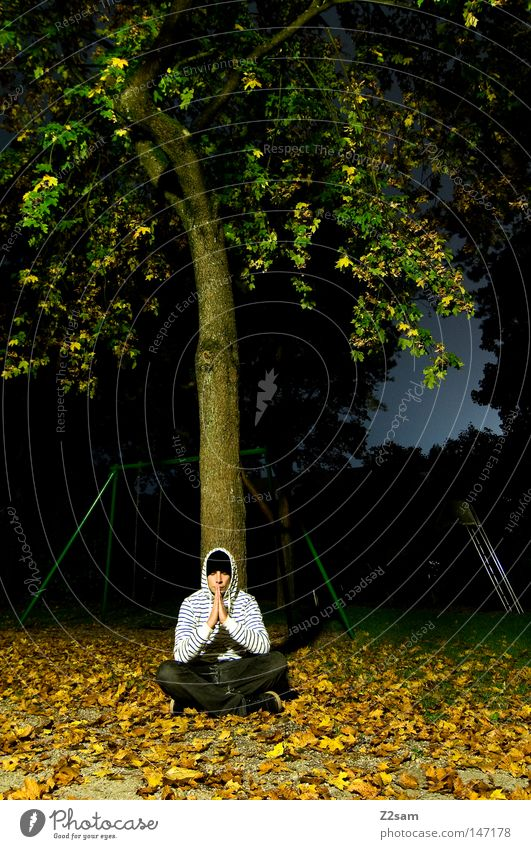 Human being Man Tree Green Calm Leaf Dark Autumn Meadow Think Religion and faith Masculine Sit Empty Culture Concentrate