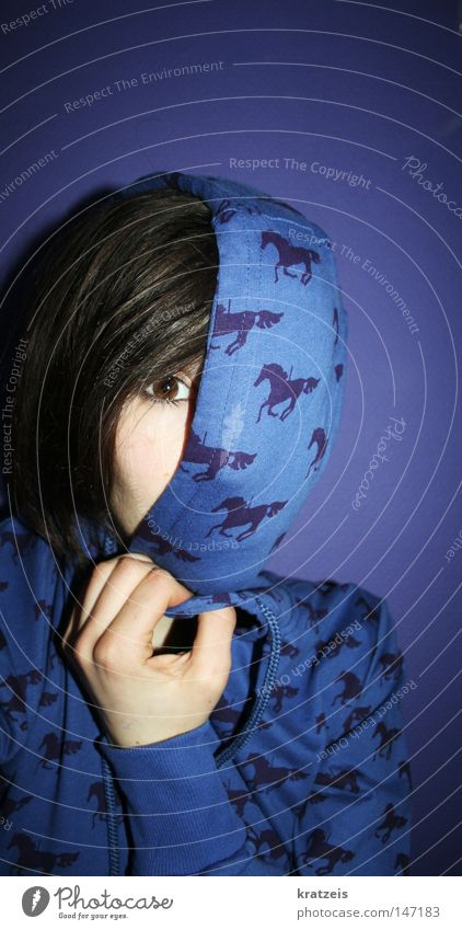 the horse past. Horse Brown Violet Mysterious Woman Eyes Blue Fear Hide