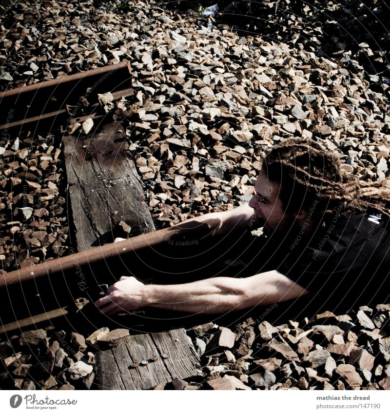 Man Nutrition Wood Hair and hairstyles Stone Metal Line Power Fear Arm Lie Railroad Force Broken End