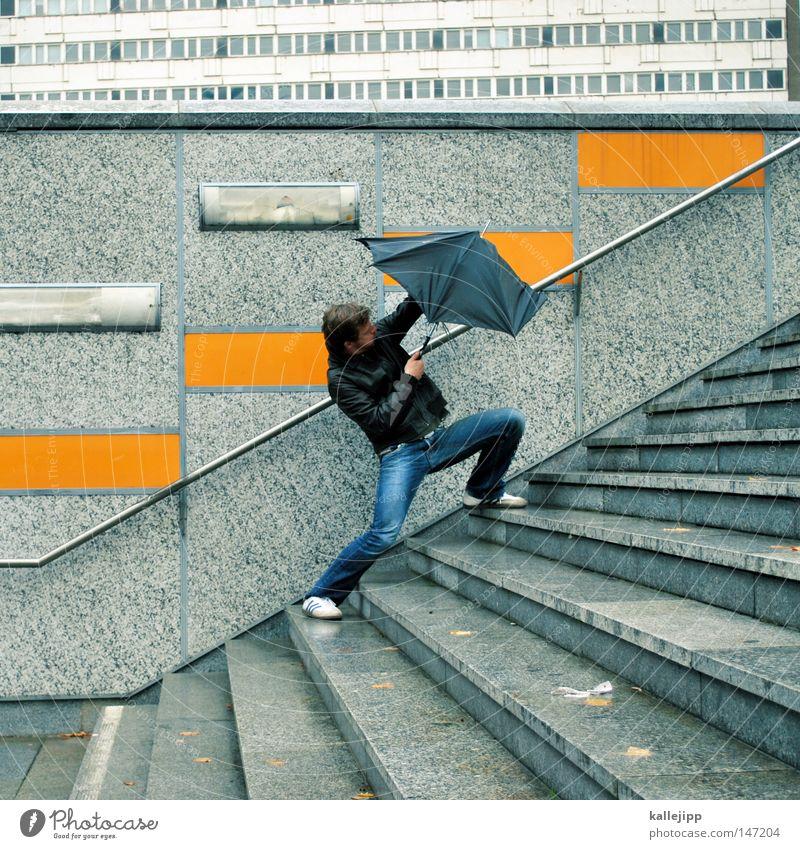 Human being Man Sadness Rain Weather Wind Bridge Broken Umbrella Tile Gale Storm Passion Tunnel Disaster Pedestrian