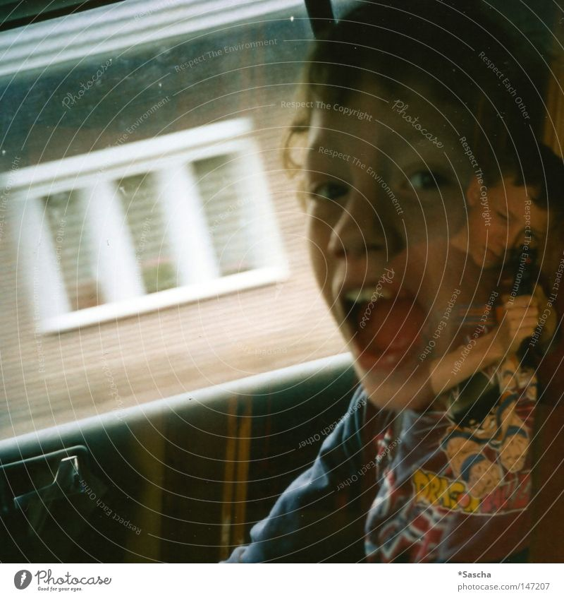 direct hits Double exposure Twin Brothers and sisters Scream Loud Shot Child Joy Playing Car Front seat passenger Door handle Wall (building) Room Interior shot
