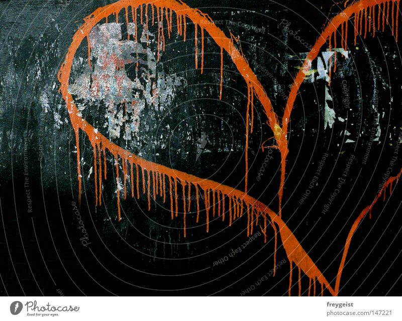 Neon Love Neon light Wall (building) Confession Graffiti Mural painting Heart Orange Colour anni k. Daub