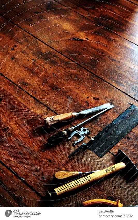 tool Hammer Pair of pliers Screw Screwdriver Scissors Saw Wood Work of art Works Things Tool Hallway Wooden floor Floor covering Workshop Repair Handyman