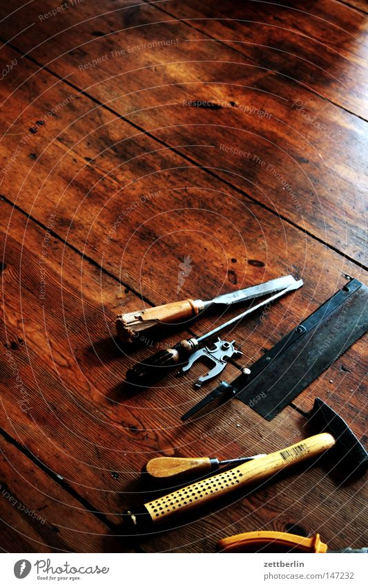Wood Floor covering Things Services Craft (trade) Workshop Tool Hallway Craftsperson Screw Repair Room Wooden floor Scissors Handicraft Work of art