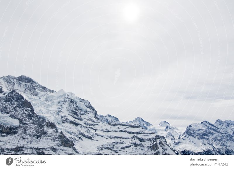 Sky White Sun Winter Mountain Snow Background picture Bright Weather Ice Large Peak Alps Climbing Switzerland Swiss Alps
