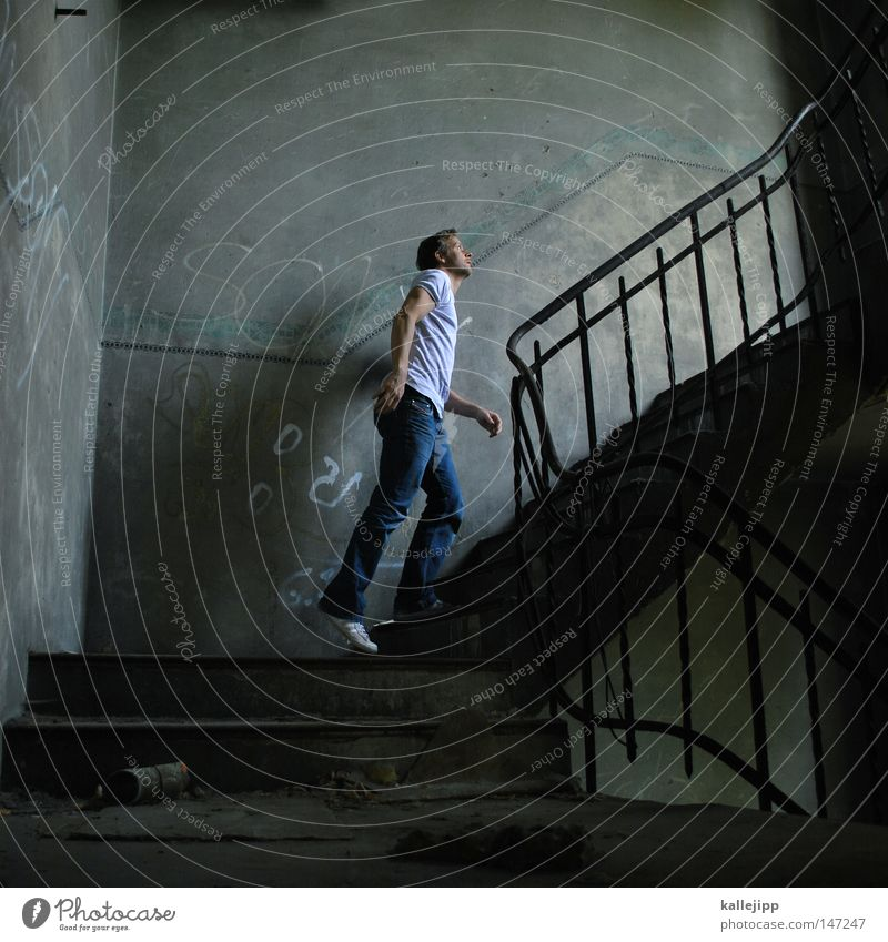 Human being Man Dark Window Dye Above Going Room Stairs Success Perspective Tall Curiosity Hope Mysterious Past