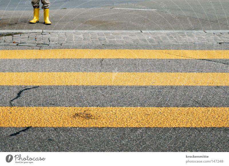 City Loneliness Yellow Street Going Legs Footwear Transport Walking Wait Dangerous Threat Stripe Protection Asphalt Traffic infrastructure