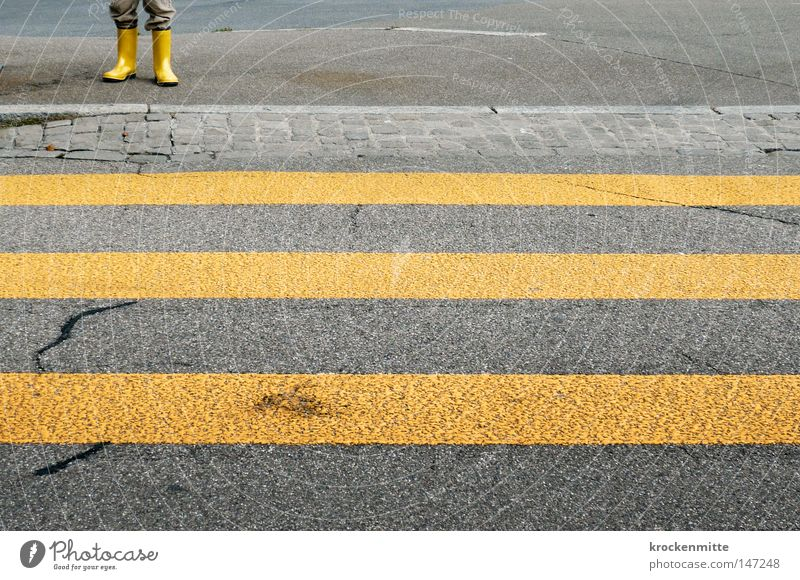 City Loneliness Yellow Street Going Legs Footwear Transport Walking Wait Dangerous Threat Stripe Protection Asphalt Traffic infrastructure
