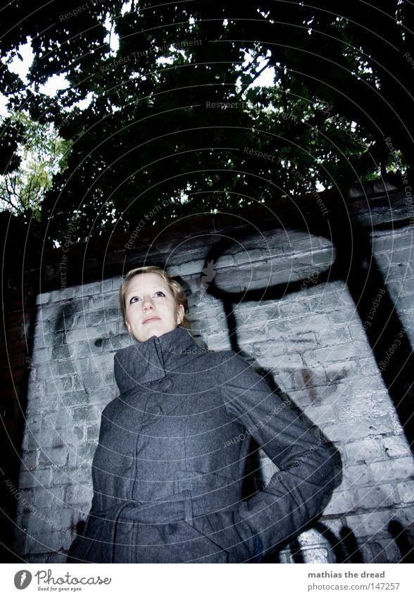 Woman Winter Black Loneliness Colour Autumn Street Dark Cold Snow Wall (building) Graffiti Gray Movement Warmth