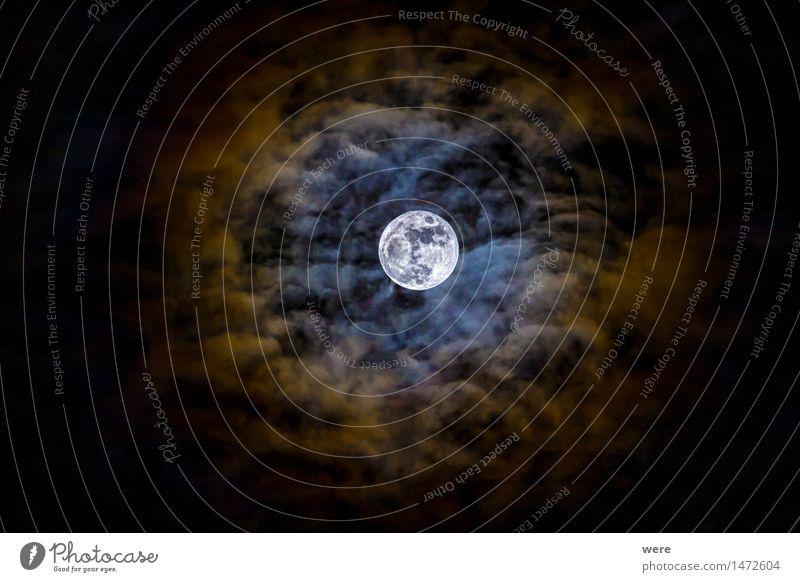 lunar corona Clouds Night sky Moon Full  moon Illuminate Fantastic Gigantic Events Sky Natural phenomenon Miracle of Nature Sensation Constellation Astronomy