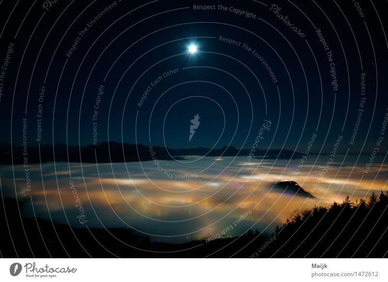 Foggy View west Nature Landscape Earth Air Sky Cloudless sky Night sky Stars Moon Full  moon Winter Weather Mountain foothills of the Alps lower mountain Peak