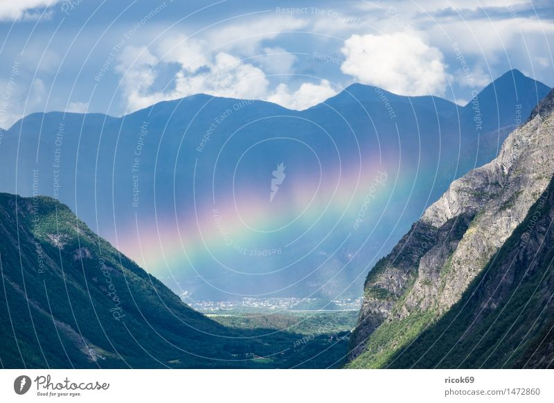 Landscape with mountains and rainbow in Norway Relaxation Vacation & Travel Mountain Nature Clouds Rock Stone Idyll Calm Tourism Rainbow Valley Møre og Romsdal