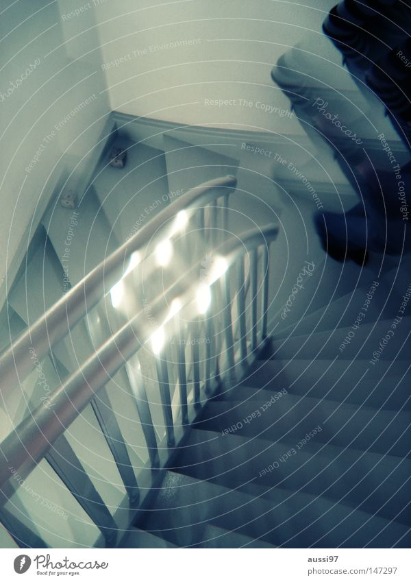 House (Residential Structure) Going Living or residing Stairs Fear Banister Under Ghosts & Spectres  Upward Double exposure Surrealism Downward Hallway Strange