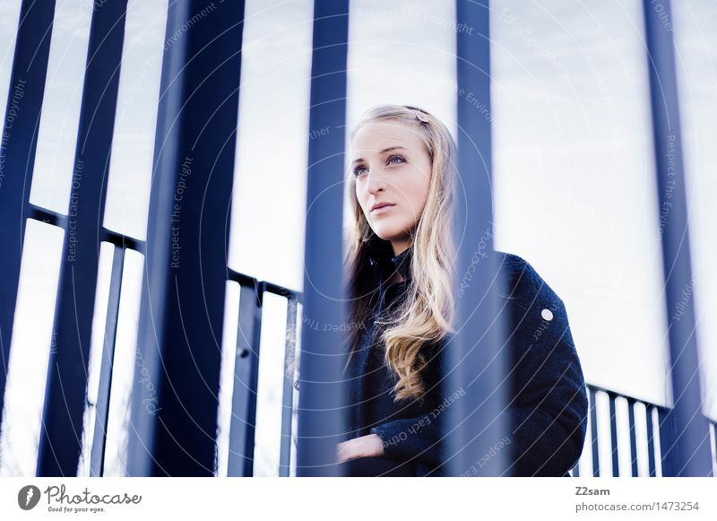 Human being Youth (Young adults) City Blue Beautiful Young woman Calm 18 - 30 years Adults Natural Feminine Fashion Elegant Blonde Authentic Perspective