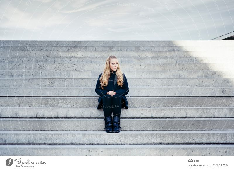pause for reflection Feminine Young woman Youth (Young adults) 1 Human being 18 - 30 years Adults Stairs Coat Boots Blonde Long-haired Think Sit Dream Authentic