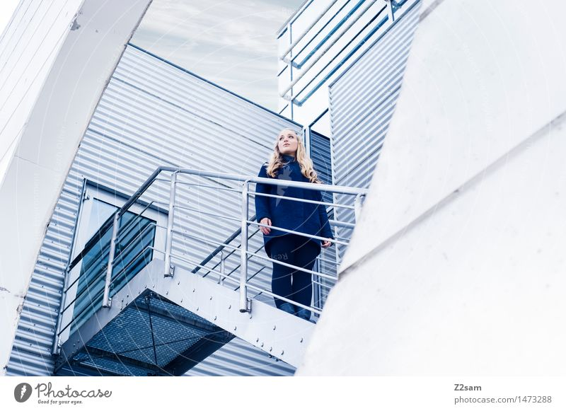 Human being Youth (Young adults) Blue Young woman 18 - 30 years Cold Adults Architecture Feminine Building Gray Above Stairs Door Arrangement Free
