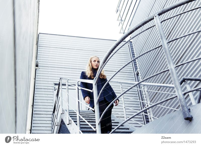 corrugated sheet Feminine Young woman Youth (Young adults) 1 Human being 18 - 30 years Adults Stairs Banister Corrugated iron wall Coat Blonde Long-haired