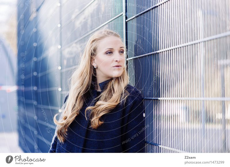 From the wind .... Elegant Style Feminine Young woman Youth (Young adults) 18 - 30 years Adults Town Fashion Coat Blonde Long-haired To enjoy Cool (slang) Fresh