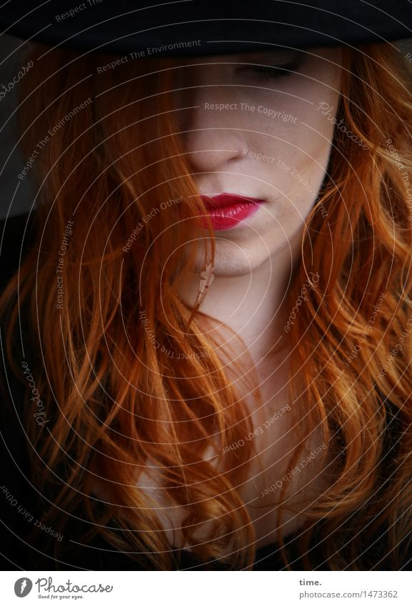 anastasia Feminine 1 Human being Lipstick Hat Red-haired Long-haired Think Listening Dream Wait pretty Self-confident Cool (slang) Willpower Watchfulness