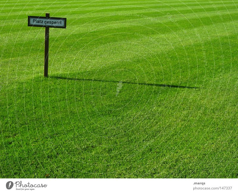 Restrictive Grass Meadow Juicy Green Summer Shadow Bans Places Barred Sporting grounds Football pitch Signs and labeling Signage Lawn Sports Barrier