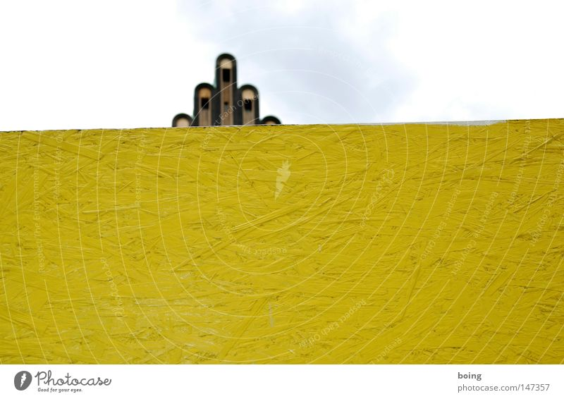 star Mathildenhöhe Darmstadt Hesse Wedding tower Hoarding Wall (building) Barrier Art nouveau Yellow Screening Hand Handshake Fingers Middle finger Matrimony