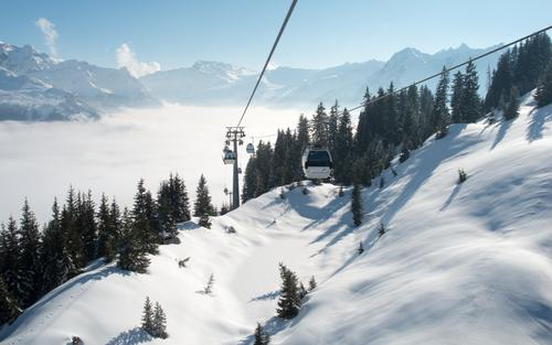 mountain railway Winter sports Nature Landscape Sky Cloudless sky Beautiful weather Snow Fir tree Forest Alps Mountain Montafon Peak Snowcapped peak Deserted