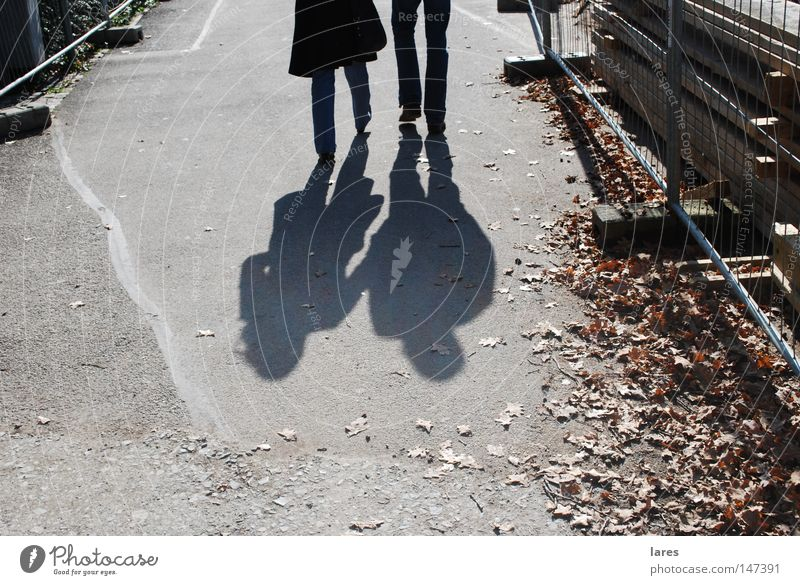 Human being Couple Together Walking In pairs To go for a walk Shadow