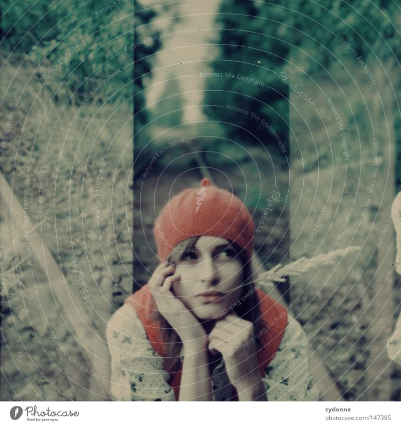 Woman Human being Tree Beautiful Loneliness Far-off places Meadow Life Emotions Grass Style Moody Horizon Time Sit Esthetic