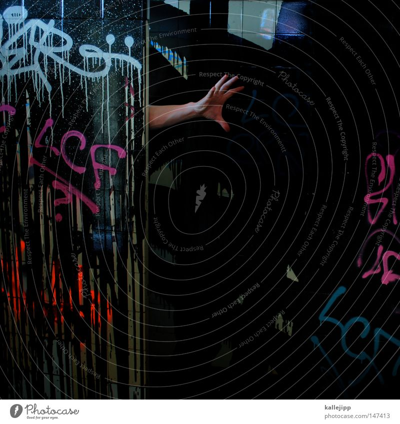 Human being Hand Black Loneliness Colour Emotions Death Dream Dye Graffiti Fear Fingers Action Stop Toilet Catch