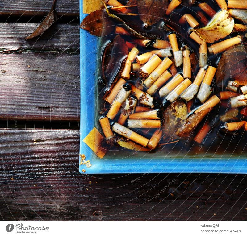 Smoker's corner - autumn day Ashtray Autumn Dark Smoking Unhealthy Poison Multiple Together Blue Wood Table Consumption Intoxicant Drug user Dependence Ashes