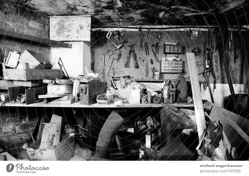 old workshop Craft (trade) Workshop Tool Farm Untidy farming messy Black & white photo Grain Metal Dirty