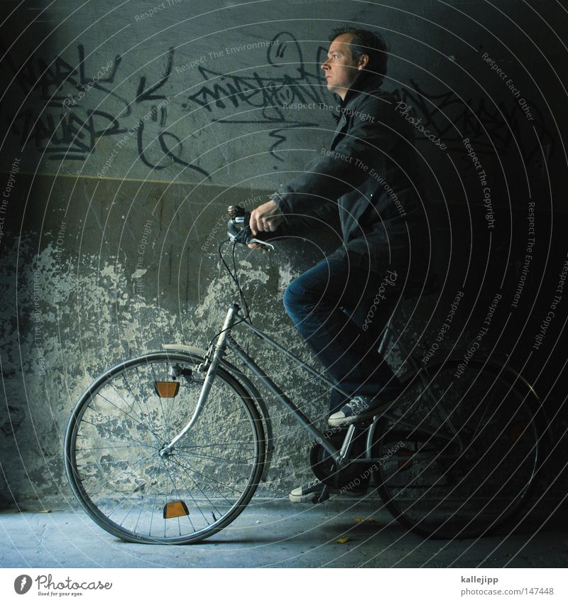 Human being Vacation & Travel Man Wall (barrier) Art Contentment Bicycle Crazy Arm Walking Speed Fantastic Poverty Cycling Broken Round