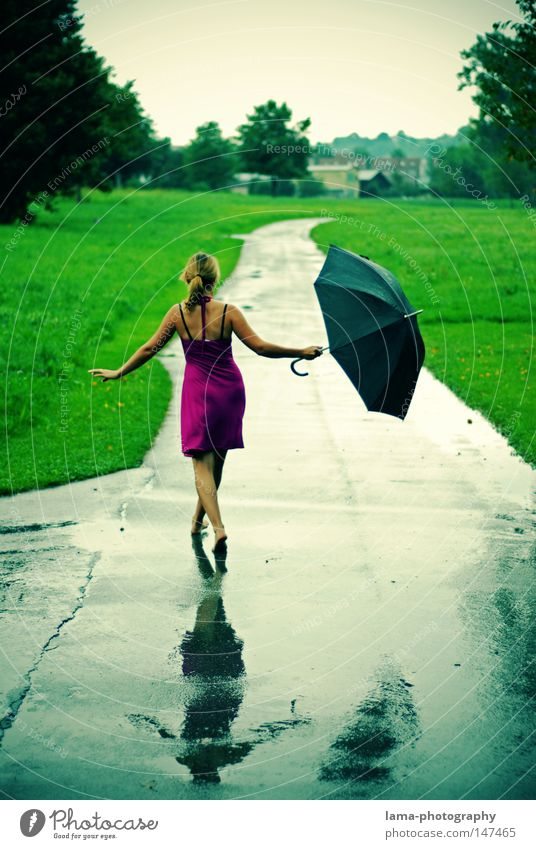 Woman Summer Joy Colour Relaxation Autumn Feminine Cold Meadow Freedom Movement Lanes & trails Legs Feet Rain Weather