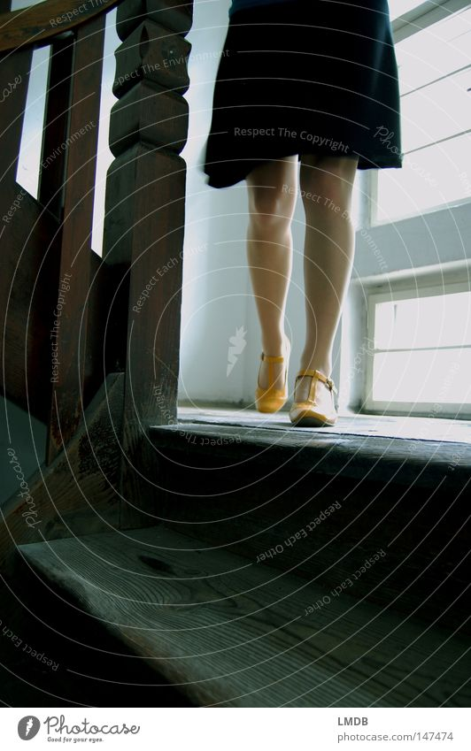 She goes... Staircase (Hallway) Old building House (Residential Structure) Dress Woman Black Yellow Footwear High heels Window Light Going out Descent Headless