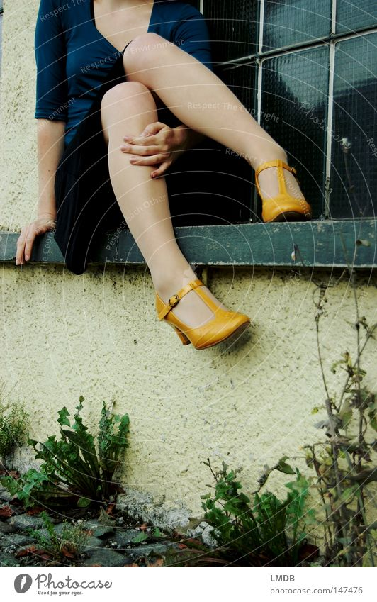 I'm still waiting for you... Footwear Buckle Autumn Window Windowsill Yellow Woman Hand Knee Dress Window pane Headless Roadside Wall (barrier) Thin Delicate