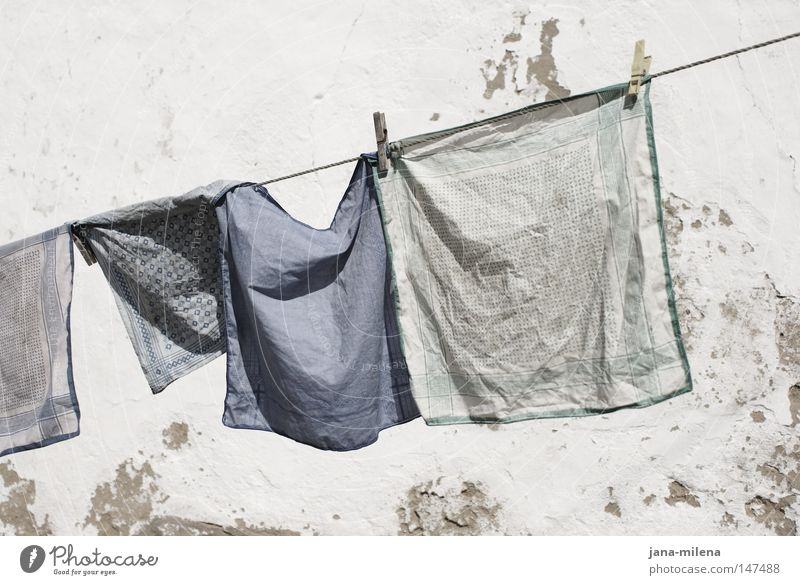 washing day Washing Laundered Laundry Cloth Rag Handkerchief Blue Blue tone Clean Dirty Detergent Dry Rope Hang up Clothes peg Wind Judder Wrinkled Iron