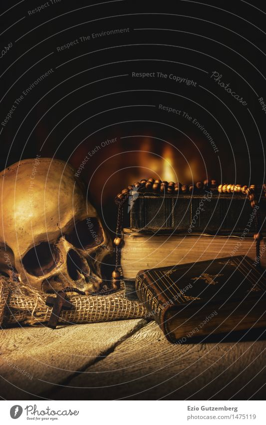 Skull, Bible, rosary in front of a fireplace Fireside Room Hallowe'en Human being Head 1 Art Painting and drawing (object) Book Wood Gold Old Retro To console