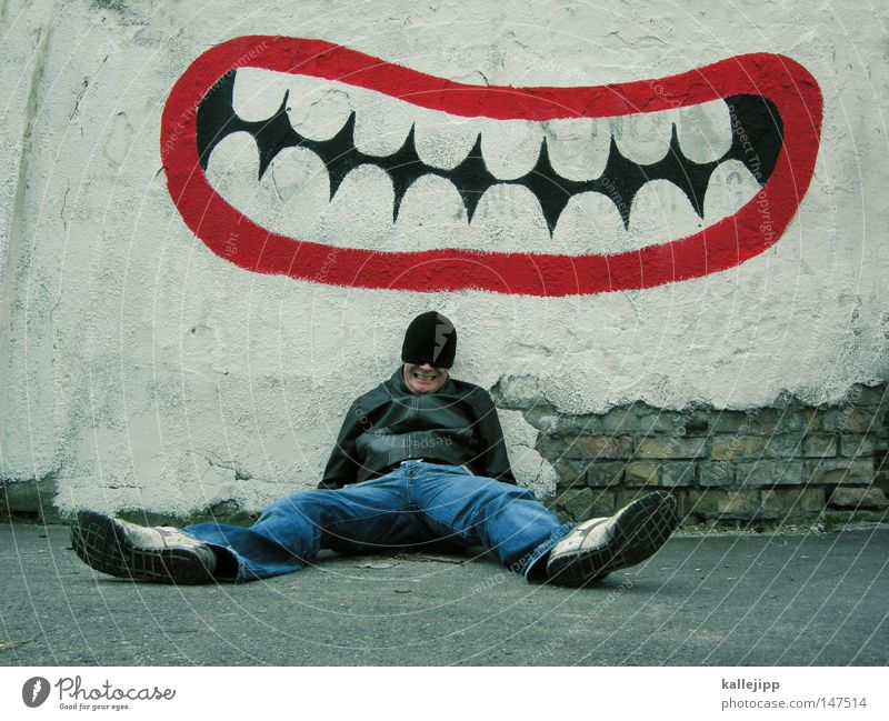 don't grin so stupid! Grinning Laughter Humor Joke Sounds of levity Graffiti Inscription Mouth Teeth Dentist Dental Funster Joker Man Human being Sit Lean