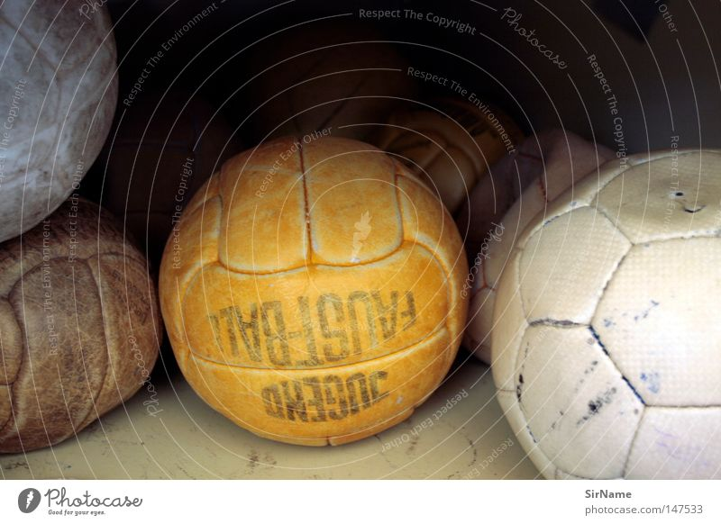 6 [old leather] Sports Ball sports Foot ball Old Broken Brown Orange White Shabby School sport Worn out Level Invalided out Defective Hand ball Colour photo