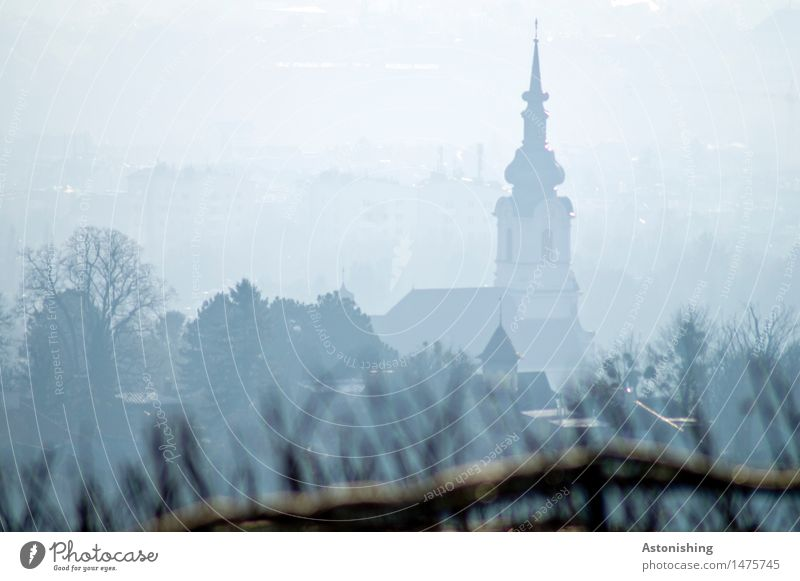 Church in the fog Environment Nature Clouds Autumn Weather Fog Plant Tree Vienna Austria Town Capital city House (Residential Structure) Tower