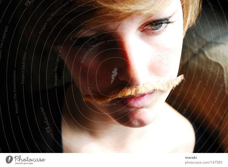 The Jolien. Woman Man Feminine Masculine Metamorphosis Transform Moustache Freedom Self-confident Short haircut Blonde Beautiful Esthetic Power Think Doubt Fix