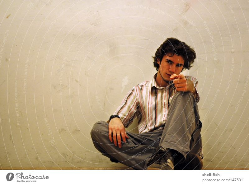 You! You! Man Flexible Youth (Young adults) Beautiful Effort Indicate Looking Image (representation) Striped Wall (building) Bright Dirty Dappled Patch Speckled