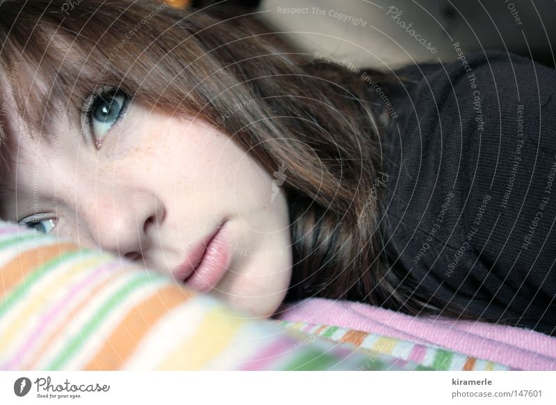I miss you Thought Think Bed Cushion Miss Dreamily Grief Delicate Youth (Young adults) Sadness Pillow