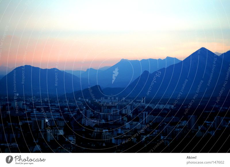 Light scattering of the atmosphere Twilight Sunset Mountain Town Grenoble France Alps Silhouette Play of colours Mood lighting Strip of light Evening Peak Dusk